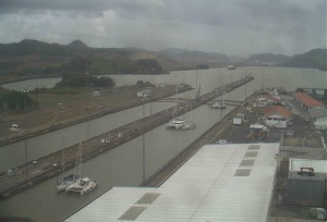 Miraflores Lock web cam; we are closest to the camera; lock doors just closed.