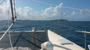 Approaching Porvenir in San Blas Islands.  Round thing in foreground is a drifter buoy that we will be deploying in the Pacific.