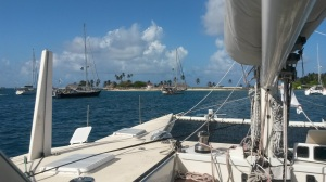 At anchor at Porvenir.  Included in photo is customs/immigration office, airport, and hotel.  Also our new BPO friends Maggie (just in front of our daggerboard) and Coconut Woman (in front of Maggie).