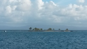 Catamaran on reef.