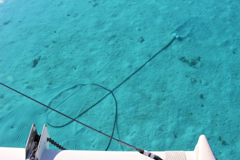 Anchor chain in a loop.  If this happens around the anchor we're in trouble...