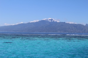 Looking back at Tahiti from our anchorage in Mo'orea.
