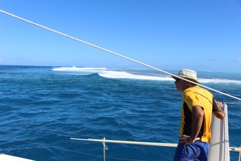 ...reef to starboard. Thankfully the surf is tame today.