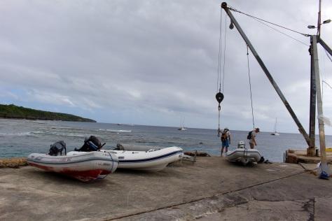 Hoist the dinghy and park it. No dinghy dock.