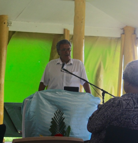Prime Minister Enele Sopoaga speaking about the UN conference on anti-corruption.