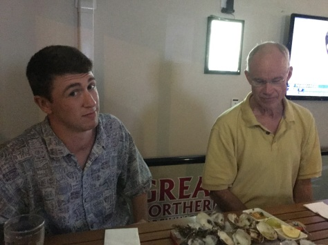 Jesse tries oysters on the half shell for the first time. Bill double checks that there isn't one more among the empty shells...