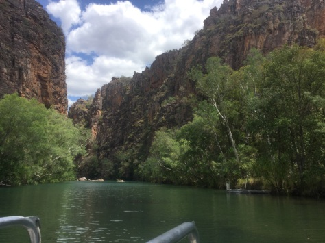 We get a boat ride part way up to Twin Falls.