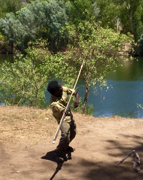 Spear throwing with a woomera (similar to an atlatl).