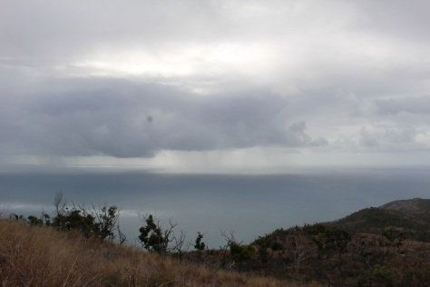 Hard to see the reefs on this day, but easy to see the squalls blowing by