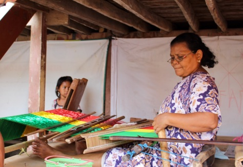 Weaving the cloth for the traditional clothes