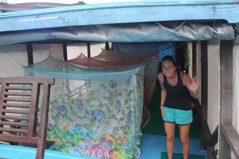 Mattresses out and mosquito nets rigged