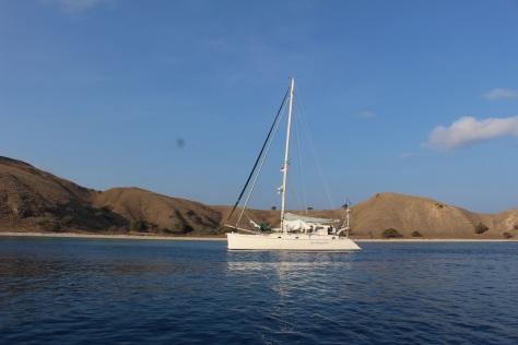 Alone at last! At anchor at Gili Lawa Laut -- beautiful, clean and nice snorkeling.