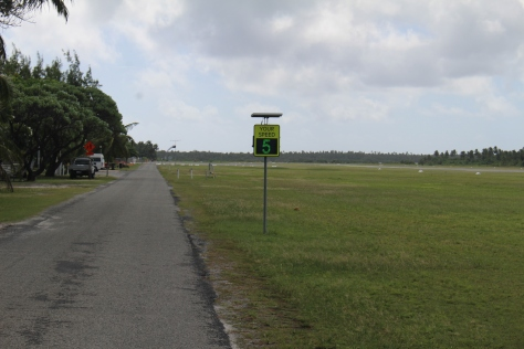 Walking along the airstrip I was surprise to see a radar speed feedback sign (over-infrastructure?), and further surprised that it told me I was walking at 5 KPH!