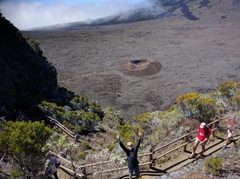 Zeke photo-bombs the Reunion volcano; courtesy of Liam