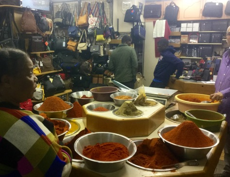 The curry (and luggage) store at Victoria Street Market.