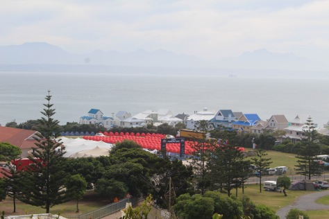 There is a bicycle race/trek in town; the red tents are the 'barracks' for the racers.