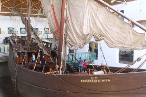 Replica of Dias' caravel, sailed from Portugal, parked inside the museum!