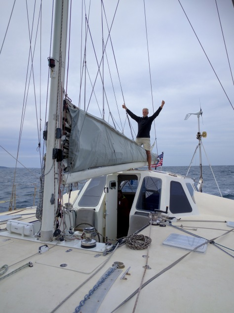 "Liam took this photo of me celebrating off Cape Agulhas. ""Triumphant,"" he labels it."