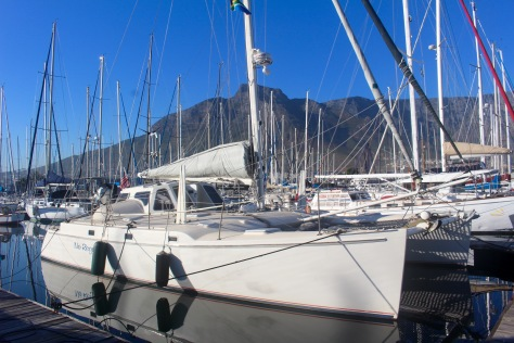 Long story short: here we are comfortably berthed at the Royal Cape Yacht Club. We were very, very lucky getting in here. Our reluctant starboard engine quit, but we arrived amid a rare occurrence...almost no wind...so we could maneuver in on one engine.