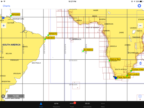 Chart showing our current location, Walvis Bay (Namibia), St Helena, and Cabedelo (our destination in Brazil).