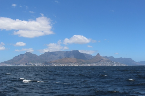 Leaving Cape Town and Table Mountain behind.