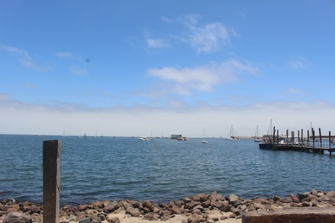 After 4 1/2 days we pick up a mooring here in Walvis Bay, Namibia. Note the fog receding, resulting in a nice sunny day from about noon to 4pm. The rest of the time is cold, even though technically we are a little north of the Tropic of Capricorn.