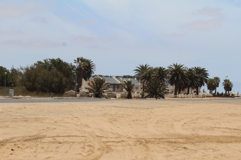 Just across from the flamingos -- a suburban neighborhood in the desert.