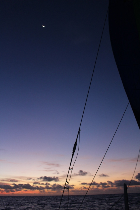 Of course you have to be there to appreciate the beautiful dusk, but an attempt to show the moon and Venus