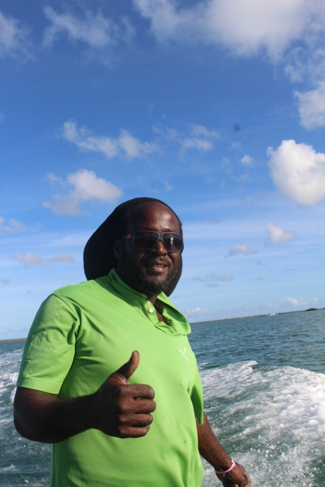 Soloman, our water taxi driver to Codrington and to the frigate bird rookery