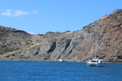 Isle Fourchue; note wreck of catamaran on the rocks...