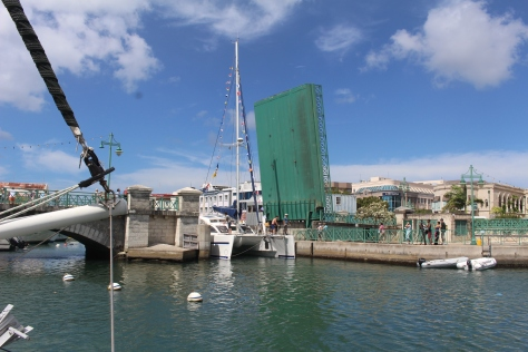 For catamarans like us it is challenging getting through the bridge into and out of the Careenage.
