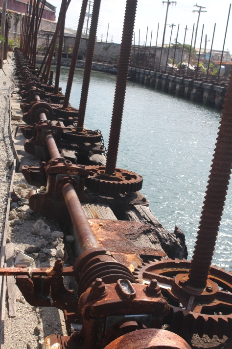 "Back in Bridgetown, this is the ""Screw Dock"" -- Victorian era technology for lifting a big ship out of the water to work on the bottom."