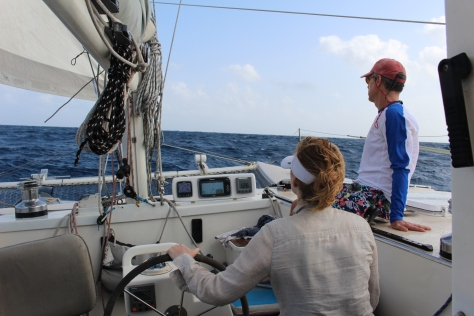 More sailing to windward; Harry inspired us to hand steer rather than rely on the autopilot