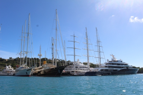 Superyachts (abound) in Falmouth Habor